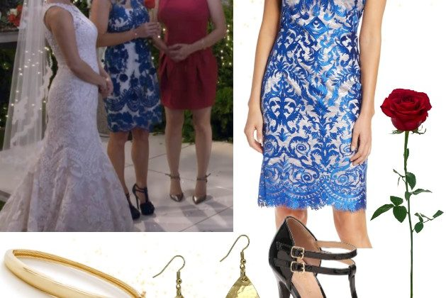 DJ Fuller Outfit Collage Blue Damask Dress